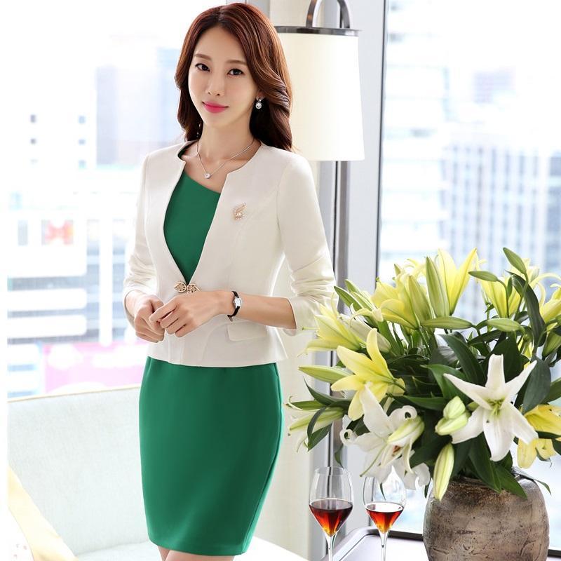 541e60a2f Otoño invierno formal profesional mujer de negocios Blazer trajes con  chaquetas y vestido para damas Oficina Blazers trajes más tamaño