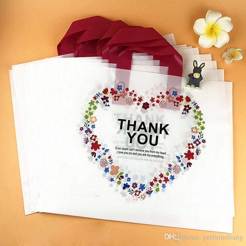 Branco Saco De Compras De Plástico com Handle Carrier OBRIGADO Coração Flor Impressão Boutique Embalagem Atacado ZA5854