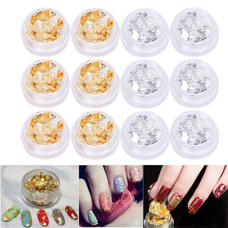 New Foil Paillette Chip Nail Art Design Manicure Decal Decor Golden+ ...