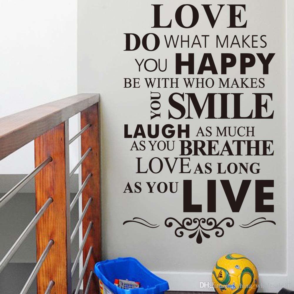 happy life inspirational quotes wall stickers living room bedroom home decorations diy pvc mural art walls decal