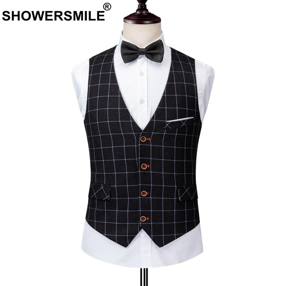 SHOWERSMILE Vests For Mens Slim Fit Suit Vest Plaid Black Waistcoat Male Formal Business Sleeveless Jacket Autumn Tartan Gilet