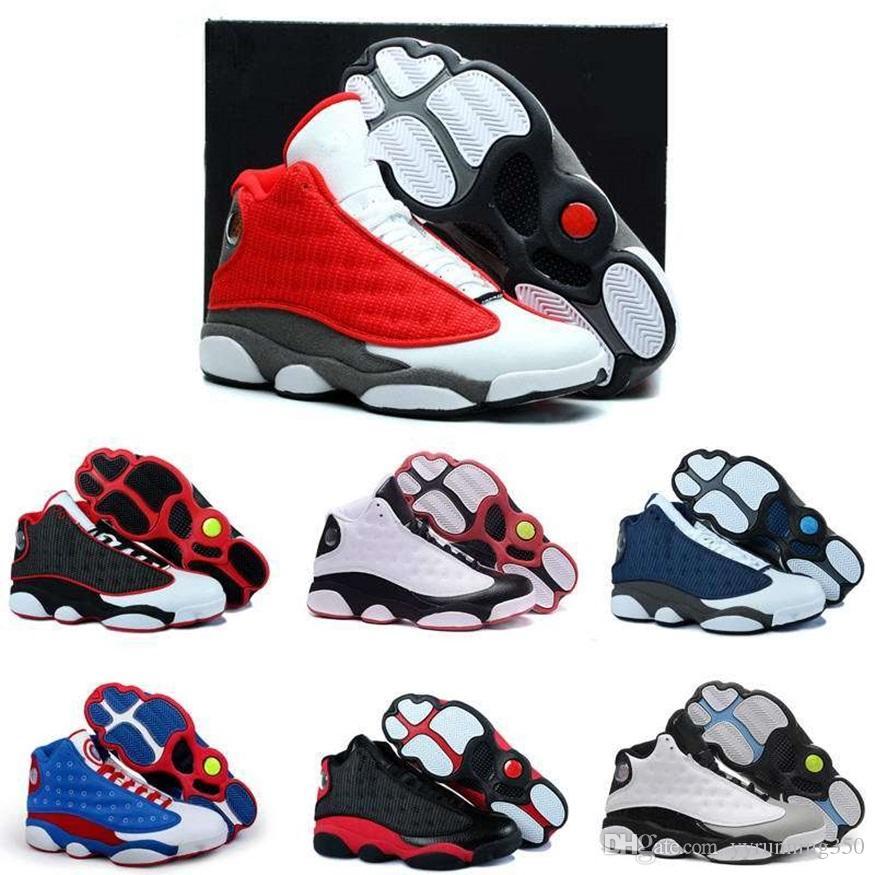 sports shoes ee7db 49b9f Großhandel Nike Air Jordan 13 Aj13 Retro Hochwertige 13 Xiii Herren Frauen  Basketball Schuhe Gezüchtet Marine Spiel Hologramm Grau Zeh Flint Weiß  Schwarz ...