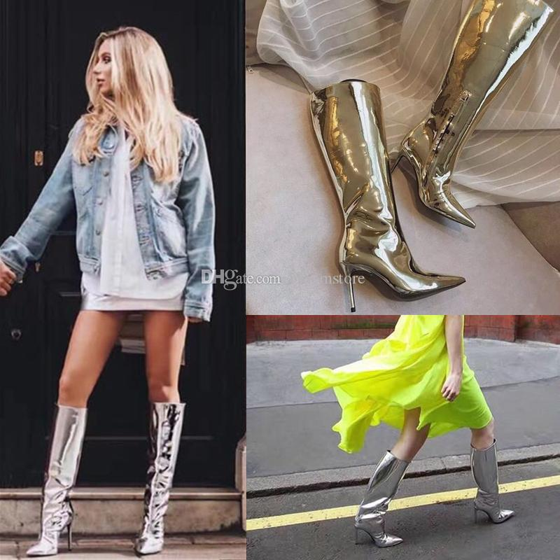 5b1014665b00 Runway Fashion Metallic Leather Womens Knee High Boots Gold Silver  Rainboots Short Long Botas Ladies High Heeled Dress Prom Shoes Large Size Pumps  Shoes ...