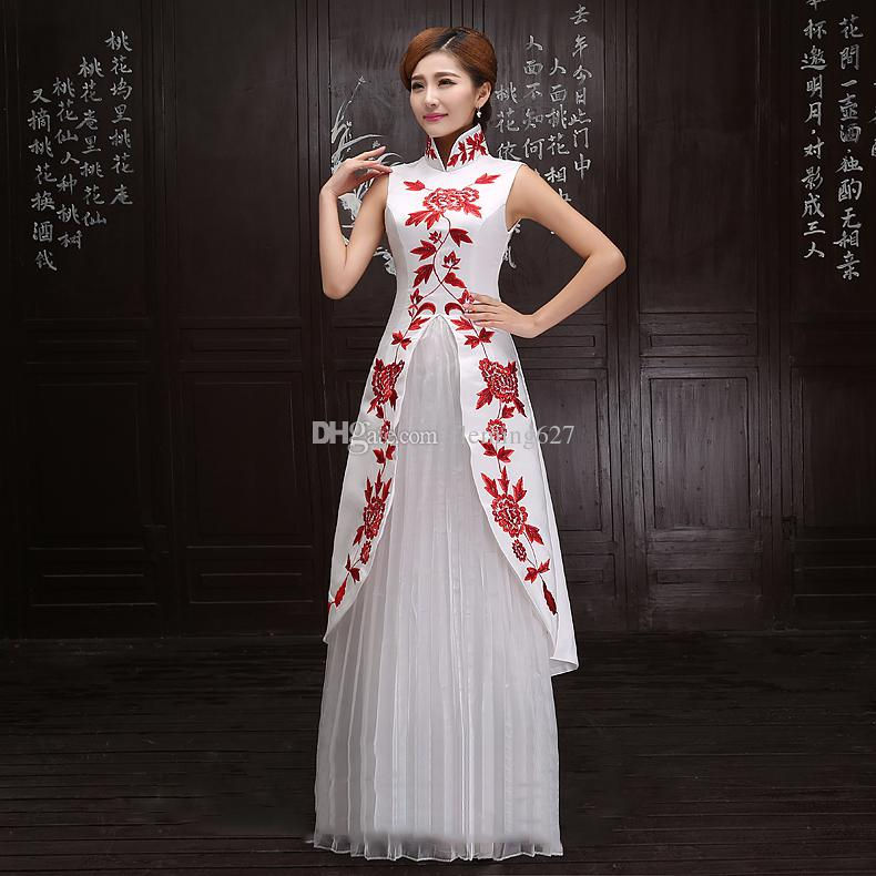 New Chinese Women traditional clothing improved Long robe modern cheongsam elegant qipao National style stand collar wedding party dress
