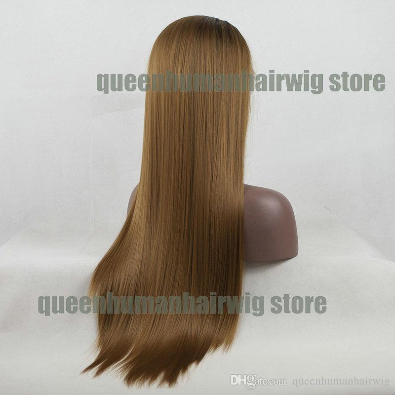 High Temperature Fiber Hair Ombre Dark BROWN Roots To LIGHT Brown Color Hand Tied Straight Type Synthetic Lace Front Wig For Women