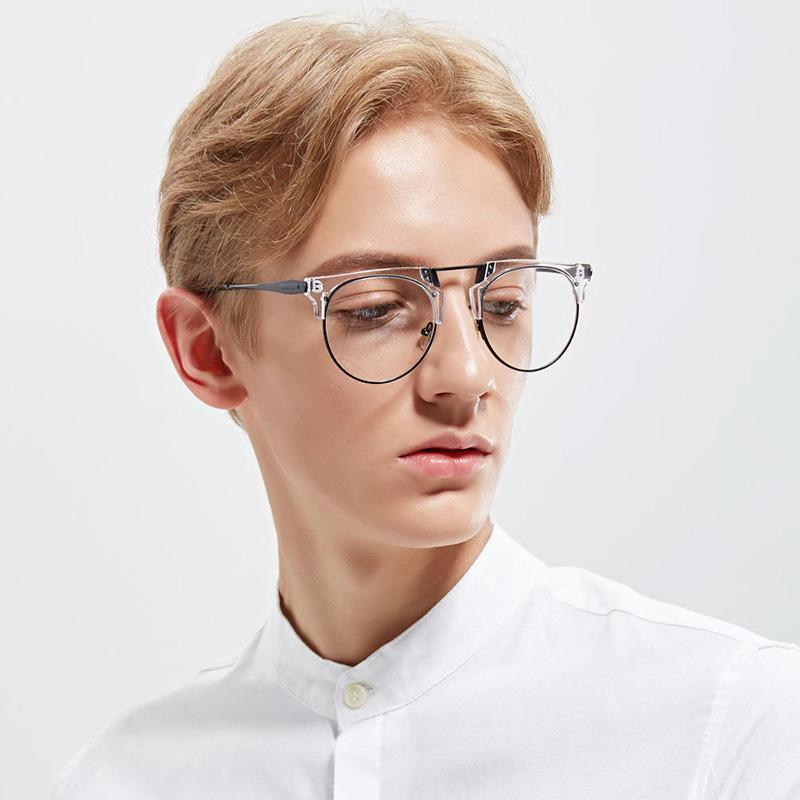 72e49149696 New Fashion Metal Flat Mirror Men s Trend Frame Glasses Female Retro ...