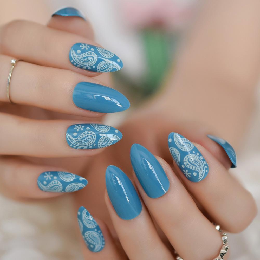 Oval Fake Nail Stiletto Sharp False Nails Blue White Hexagon Pattern Shiny  Blue Glitter Pre Design Nail Tips For Bride Party