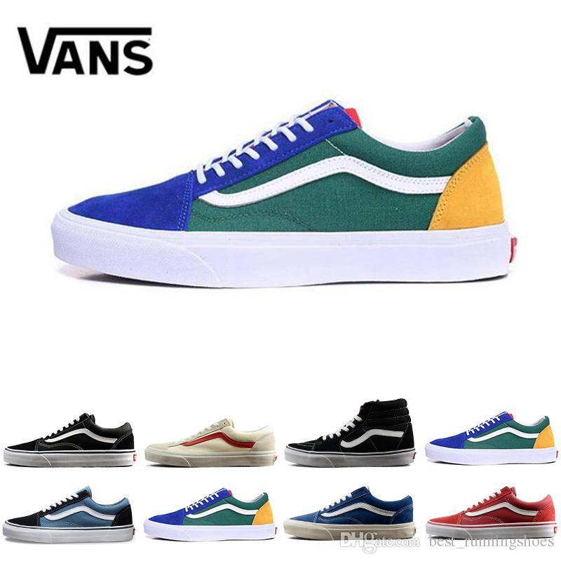 fb6d25407e6 2018 VANS Old Skool Skate Branco Preto Lona Clássica Sapatos de Skate  Casuais zapatillas de deporte Das Mulheres Dos Homens Vans Sapatilhas  Formadores