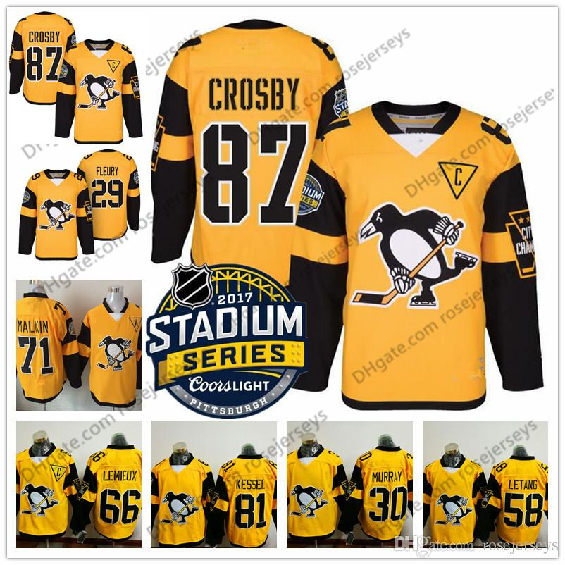 19ba26574 2019 Customize 2017 Stadium Series Yellow Jerseys  87 Crosby Malkin Kessel  Letang Murray Pittsburgh Penguins Hockey Mens Womens Youth Kids S 4XL From  ...