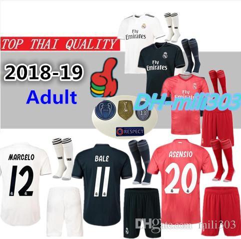 the best attitude a0818 b8885 2018 2019 real Madrid modric MODRIC Marcelo home Kit soccer jerseys Kit  18/19 Campeones ASENSIO ISCO Champions League third football Shirt