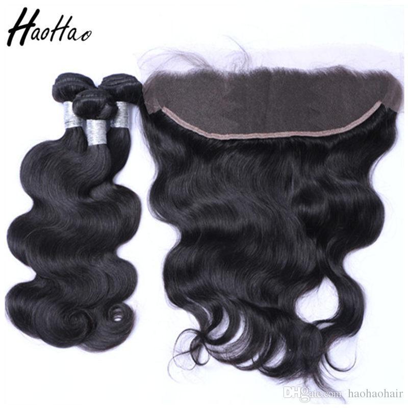 Fasci di capelli umani brasiliani con chiusura 4 * 4 Capelli umani brasiliani frontale 13 * 4 capelli vergini brasiliani dritti donne nere afro-americane