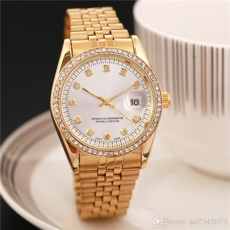 Relogio masculino celebrity designer fashion men and ladies wrist gold and silver stainless for Celebrity quartz watch