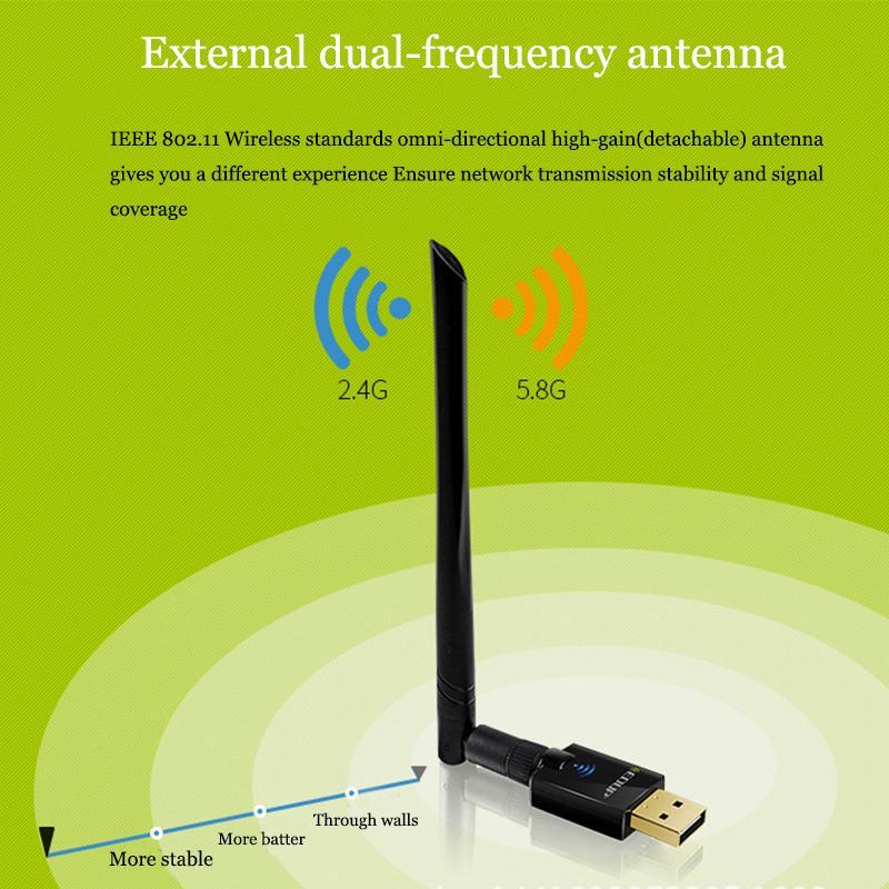 EDUP AC 600Mbps 2.4/5.8 GHz 11ac двухдиапазонный беспроводной адаптер с антенной 6dbi поддержка Windows и MAC с розничной упаковке