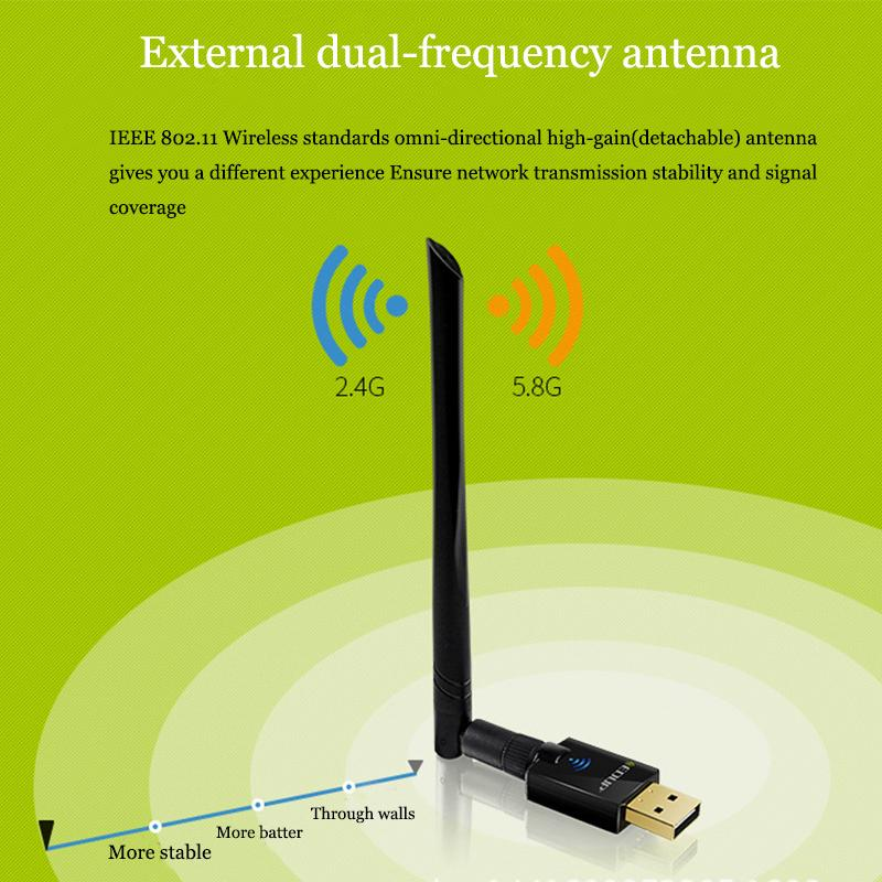 EDUP AC 600Mbps 2.4/5.8GHz 11AC Dual-band Wireless Adapter with 6dBi Antenna Support Windows and MAC with Retail Package