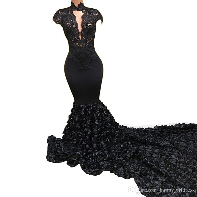 2018 Black Lace Mermaid Evening Dress High Neck Flower Cap Sleeves Long Train Prom Gown Formal Party Dresses