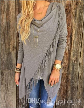 eec567f1a462b New Hot Women S Fringe Cardigan Tassel Decorated Asymmetric Hem Grey T Shirt  UK 2019 From Dajidali88