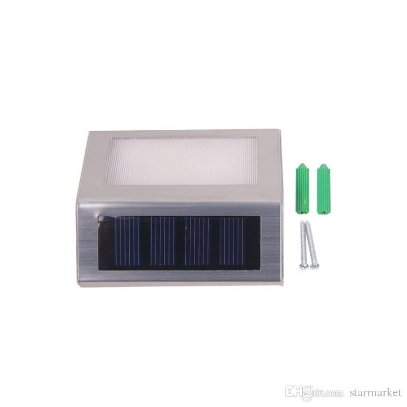 Waterproof LED Solar Light Lamps 2Leds Garden Lights Outdoor Landscape Lawn Lamp Solar Wall Lamps led solaire jardin Stair Step Led Lamps
