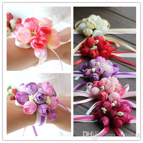 b3cc945f66 DHL shipping Wholsesle Wrist Corsage Bridesmaid Sisters Hand Flowers  Artificial Silk Lace Bride Flowers For Wedding Party Decoration Bridal