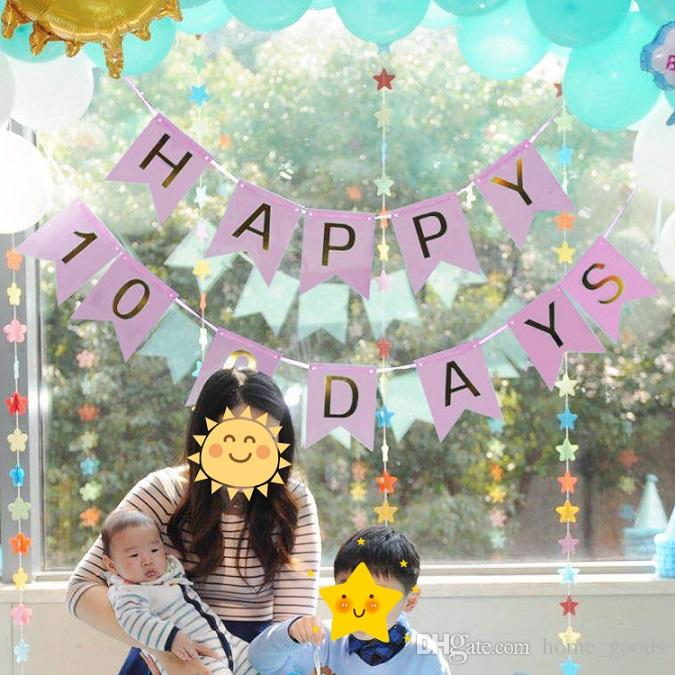 2019 Wedding Birthday Party Decorations Happy Kids 100 Days Letter Banners Flags String Bunting Home Decor Flag Supplies From