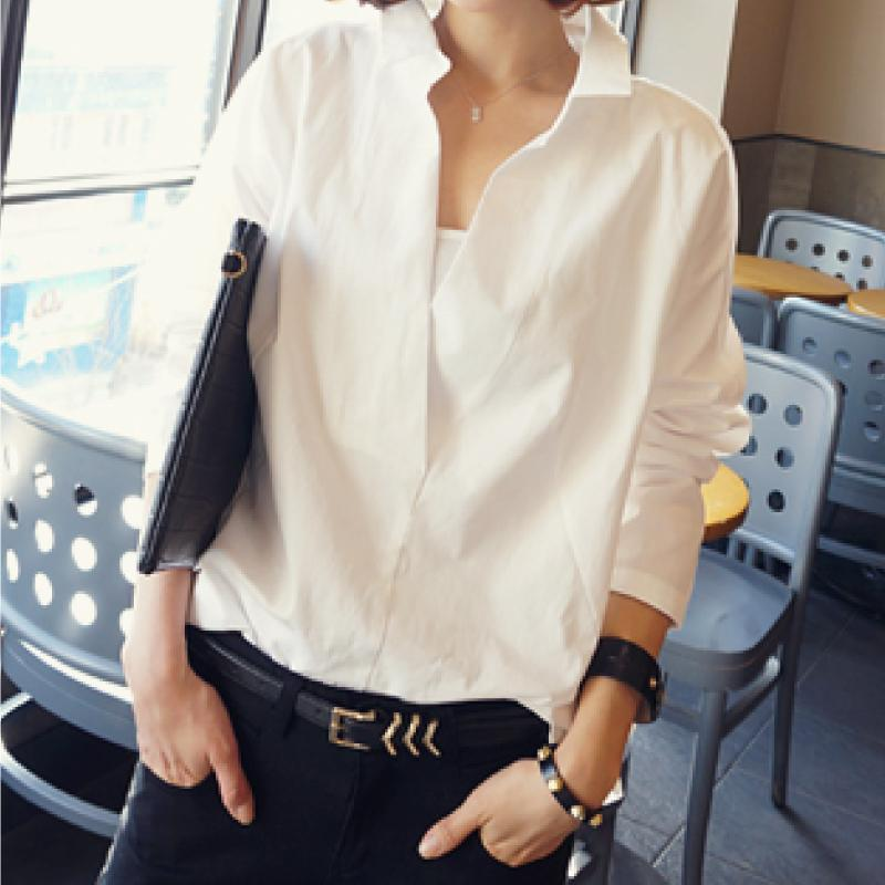 567fdf7ed97 Fashion Long Sleeves Shirt Blouses Hollow Out Lace Stitching V-neck ...