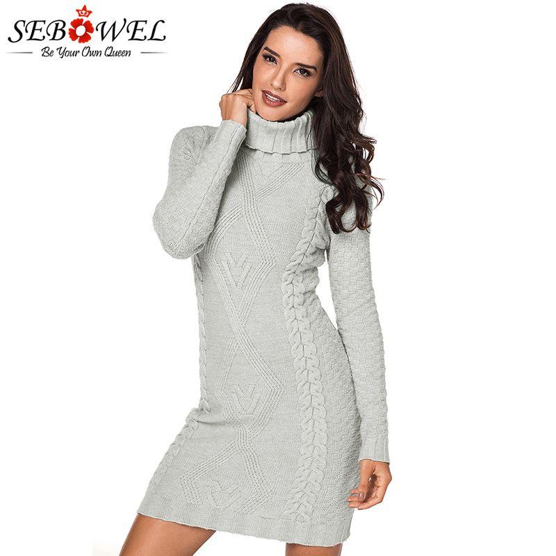 2019 SEBOWEL 2018 Autumn Women Knit Turtleneck Sweater Dress Plus Size  Female Casual Warm Winter Bodycon Mini Dress Pencil From Radishu 4360cd2ef