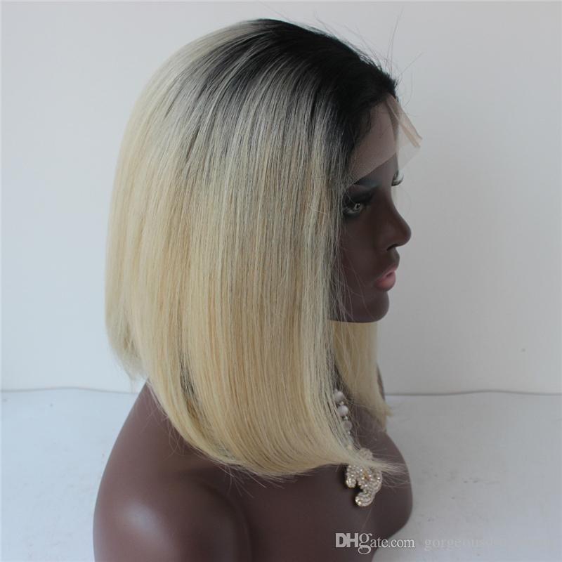 1B Blonde Full Lace Human Hair Wigs Dark Roots 1B 613 Lace Front Wig Two Tone Bob Wig For Black Women