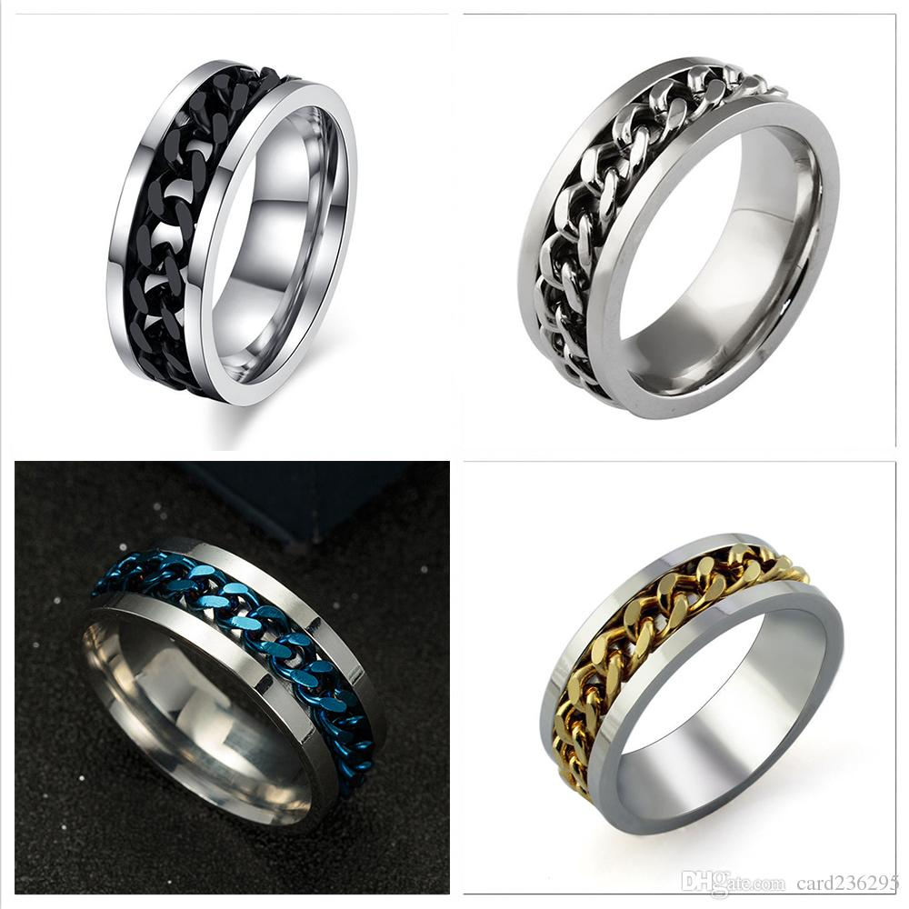 Jewelry & Accessories Fashion Mens Ring The Punk Rock Accessories Stainless Steel Black Chain Spinner Rings For Men 12 Color