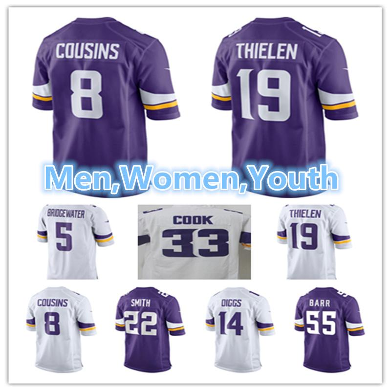 new concept 043e9 4aeca Men Women Youth Minnesota Vikings Jersey 5 Teddy Bridgewater 14 Stefon  Diggs 19 Adam Thielen 22 Harrison Smith 8 Kirk Cousins Jerseys