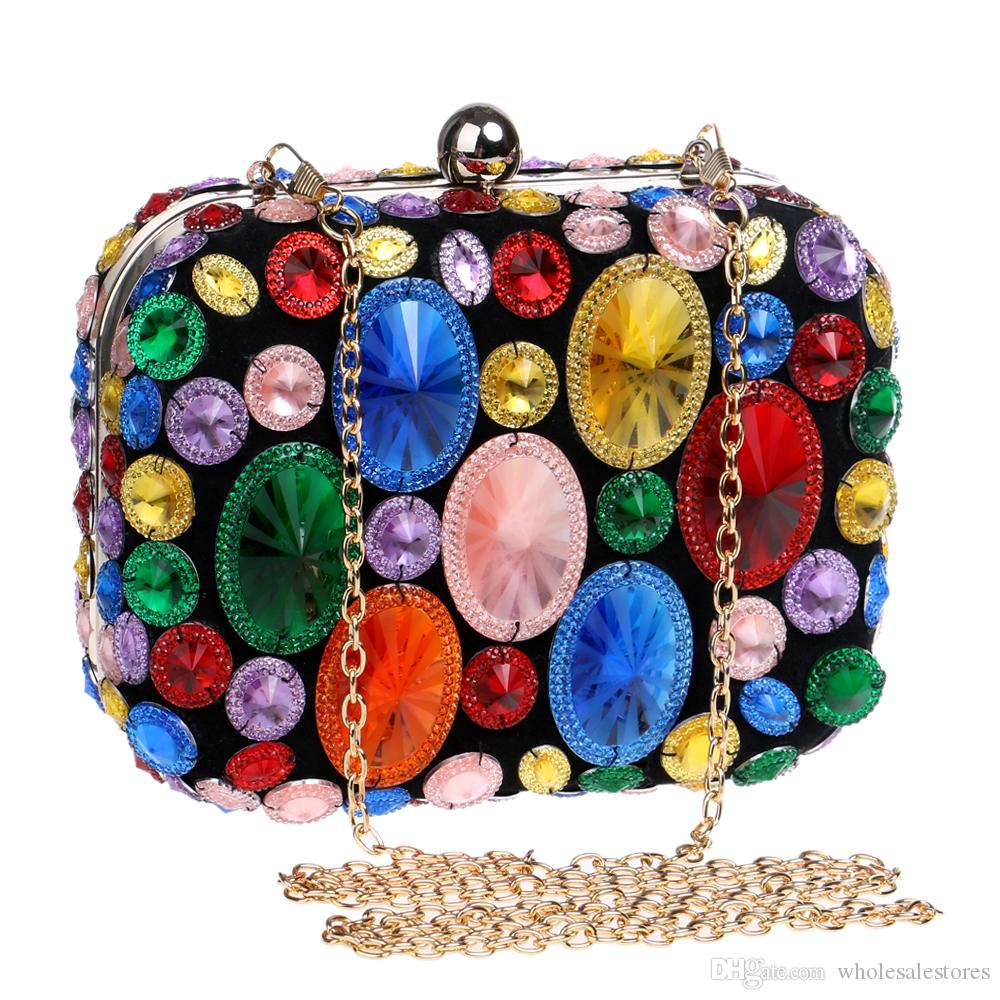10b0f352a40 Colorful Rhinestone Handmade Women'S Gem Diamonds Evening Bag Silver Alloy Small  Clutch Handbag Wedding Shoulder Bags Clutches Beach Bags From ...