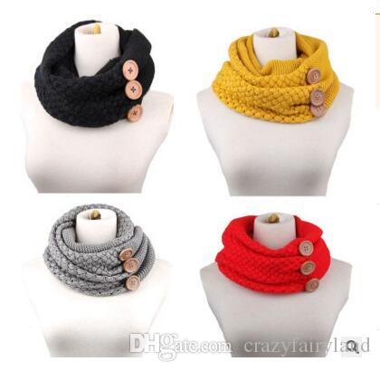 2018 Scarf Brand Luxury Women Winter Warm Knit Infinity Button