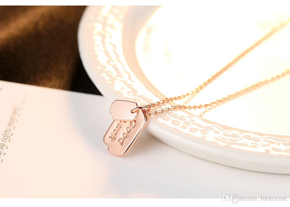 LUOTEEMI New Fashion Rose Gold Color Genuine 925 Sterling Silver Good Luck Pendants For Women Link Chain Necklace Bijoux Gifts