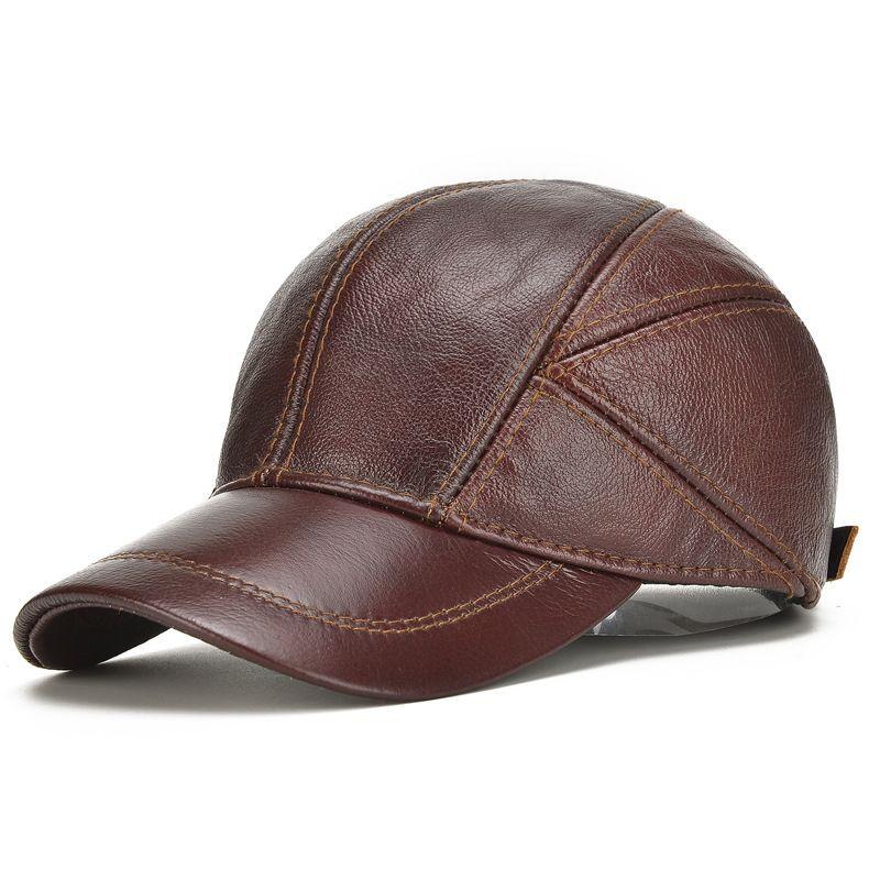 2e0543a8c36 2018 New Autumn Winter Hats With Ear Flaps Men s Genuine Leather Baseball Caps  Men Hat Warm Outdoor Belt Ear Newsboy Cap Trucker Hat From Jianyue16