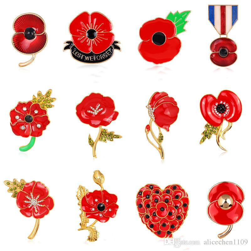 Rhinestone Flower Brooches Pins Women Kid Charm Gifts Alloy Shiny Party Brooches Pins Royal British Legion Poppy Flower Pins Badge