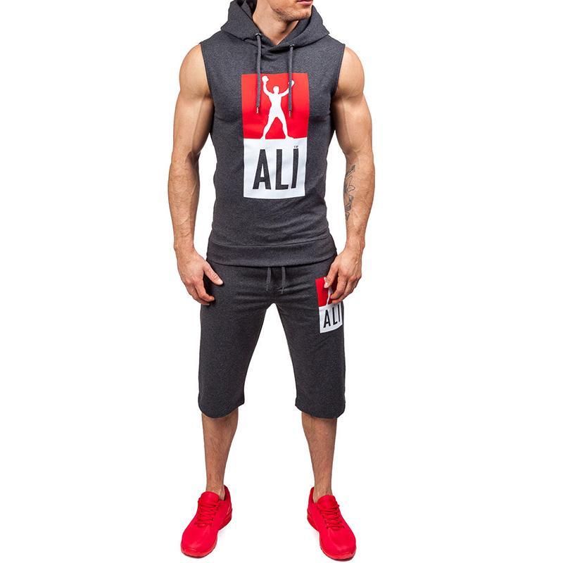 34c627424da2 Fashion Casual Slim Fit Men S Clothing Tracksuit Set Summer Men Sportwear Print  Clothes Sporting Suit Hooded Vest Tops Short Tz14 UK 2019 From  Clothingcart
