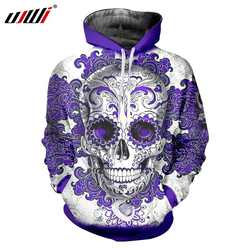 8bacafa44843 UJWI Men Hoodies Sweatshirt 2018 Autumn Winter Mens Print Purple ...