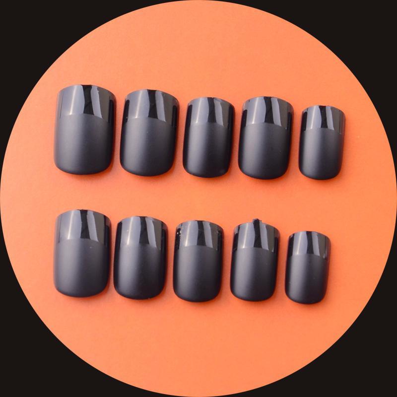 New 24pcs Acrylic Full Cover Nail Tips Matte Black French False Nail Art Tips Faux Ongles Uv Gel Polish Effect