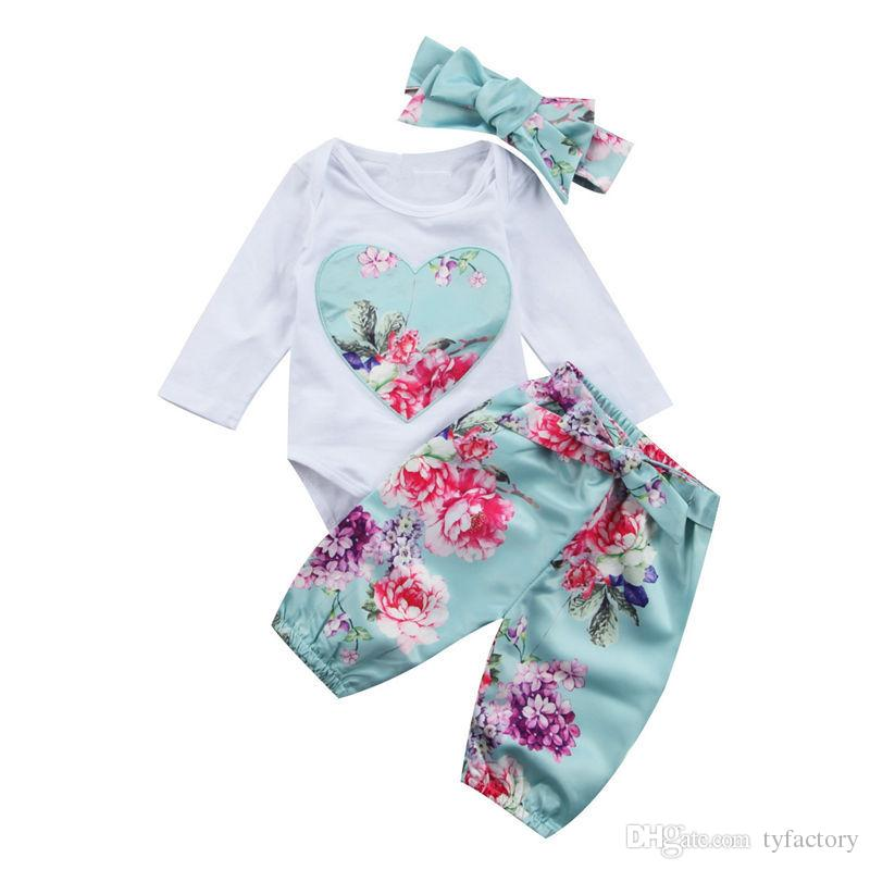 2fc766f4b13c 2019 Newborn Baby Girls Floral Romper+Pants+Headband Blue Outfits Set Clothes  Flower Heart Kid Girl Boutique Clothing Toddler 0 24M From Tyfactory