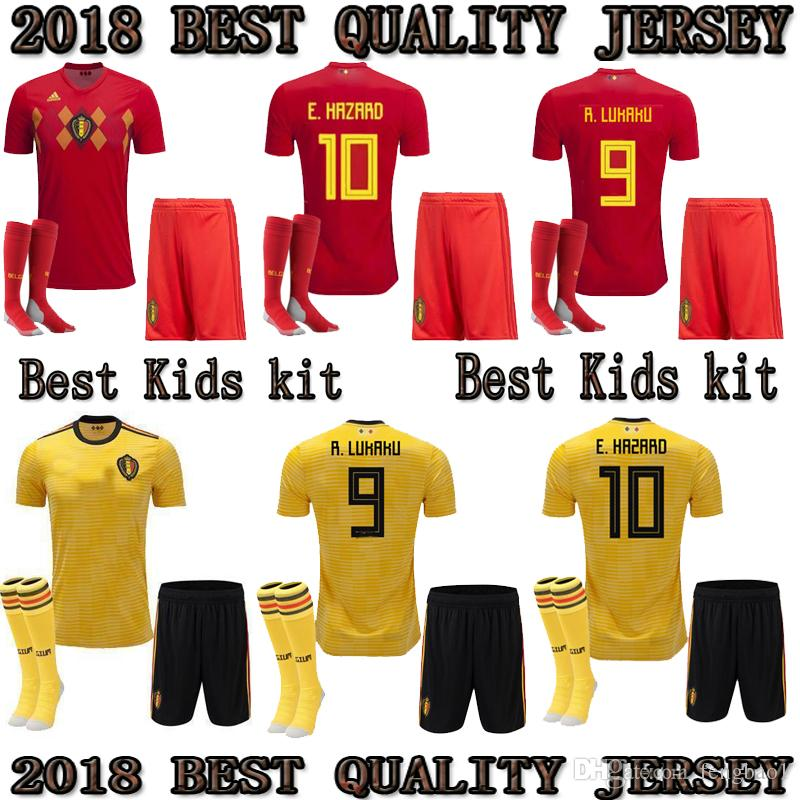 2019 2018 2019 Belgium HOME RED AWAY KIDS KIT World Cup Yellow Soccer Jersey  KOMPANY DE BRUYNE E.HAZARD LUKAKU FELLAINI Custom Football Shirt From  Fengbao1 a56a2c40c
