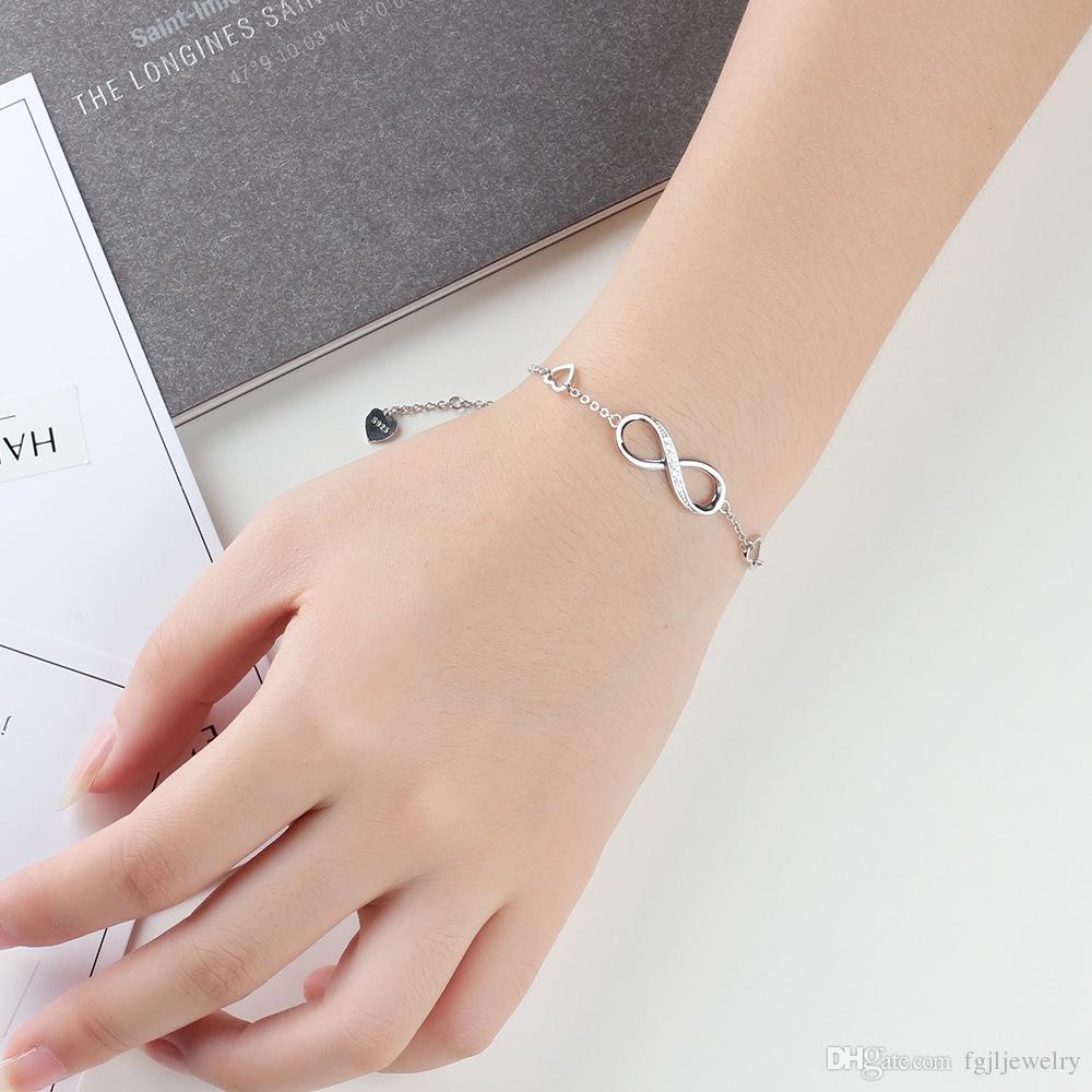 Véritable argent sterling 925 cadeau sans fin bracelets de jour de valentine CZ infini bijoux bracelet infini pour les femmes de fille