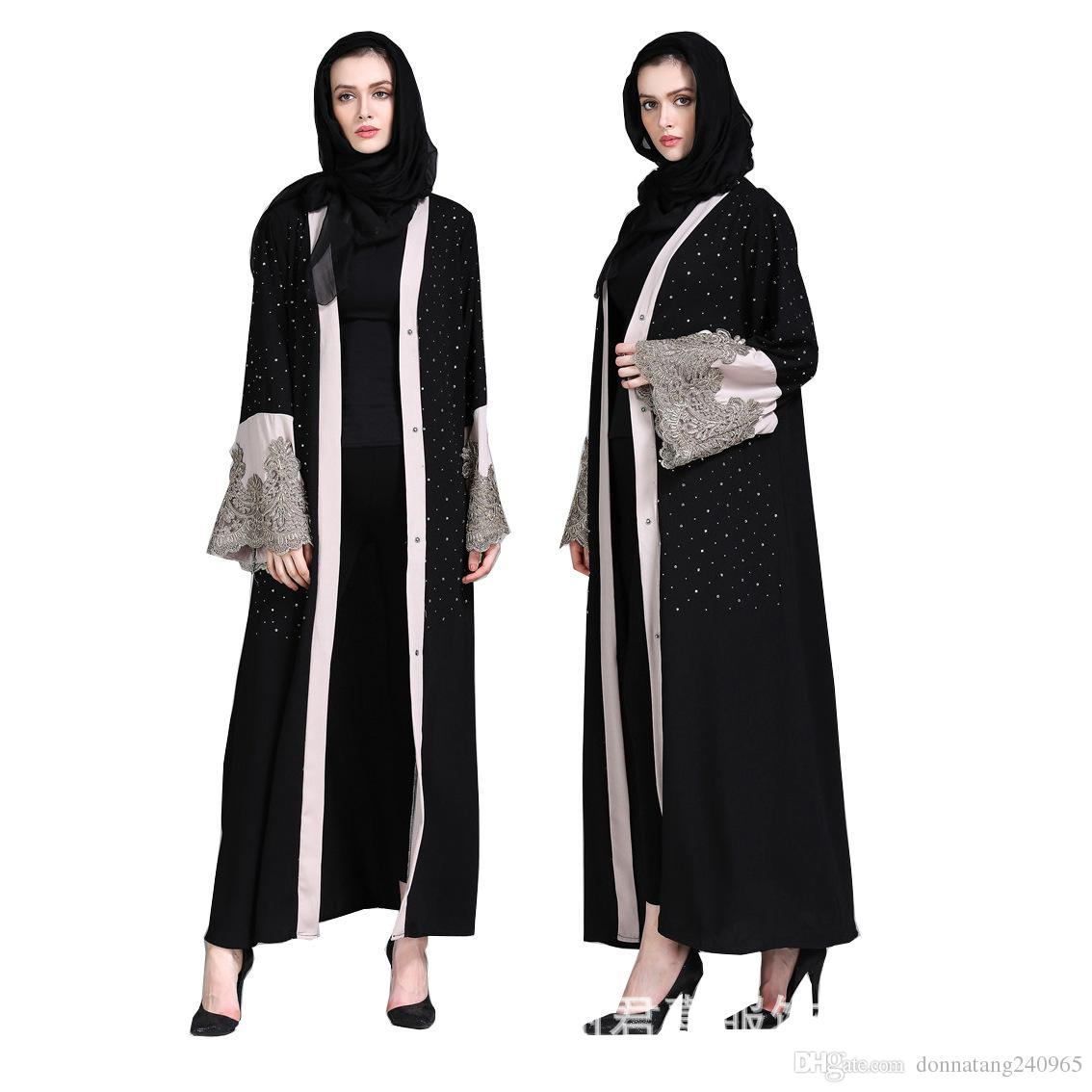 Muslim Women Cardigan Abaya Diamond Embroidery Turkish Dress Contrast Color Dubai  Kaftan Middle East Robes Islamic Clothing Jalabiya Dinner Dresses Dress ... 673c9259ee3