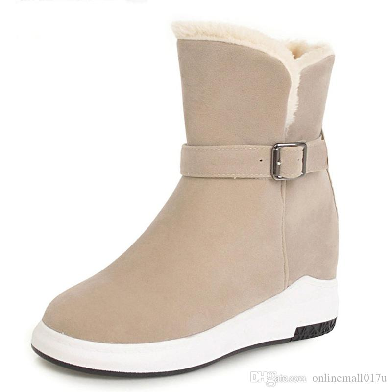 Women Half Boots Winter Short Boot Warm Shoe Flat Botas Mujer Snow Boots  Buckle Fashion Round Toe Shoes Boots Football Boots Womens Boots From ... b30040532fbe