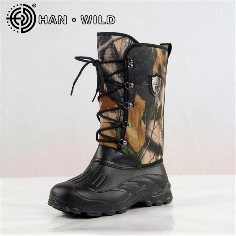 eb958913914 New Waterproof Snow Boots Men Non-slip Fishing/Skiing Boots High Top Men  Warm Snow Shoes Leaves Camouflage Outdoor