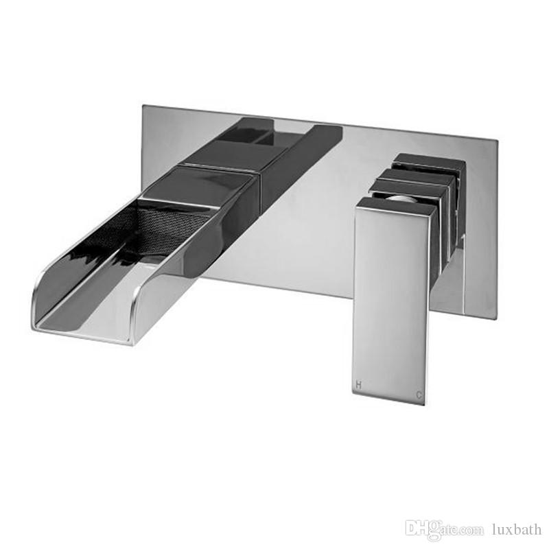 Chrome Waterfall Basin Faucet Wall Mounted Single Lever Basin Mixer