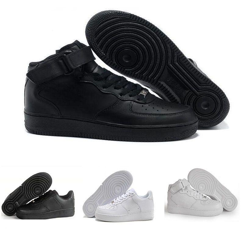 7f47b38a Compre 2018 Nike Air Force 1 Leather AF1 Nuevo Clásico 1 Blanco Negro Corte  Alto Corte Alto Hombres Mujeres Zapatillas Deportivas Zapatillas De Skate  Uno ...