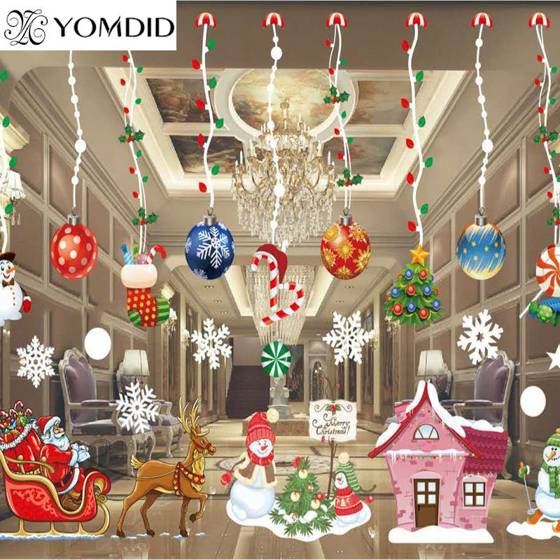Colorful Christmas Window Decoration Santa Snowman Deer Snowflakes Bell Christmas Decals Decoration New Year Enfeites De Natal