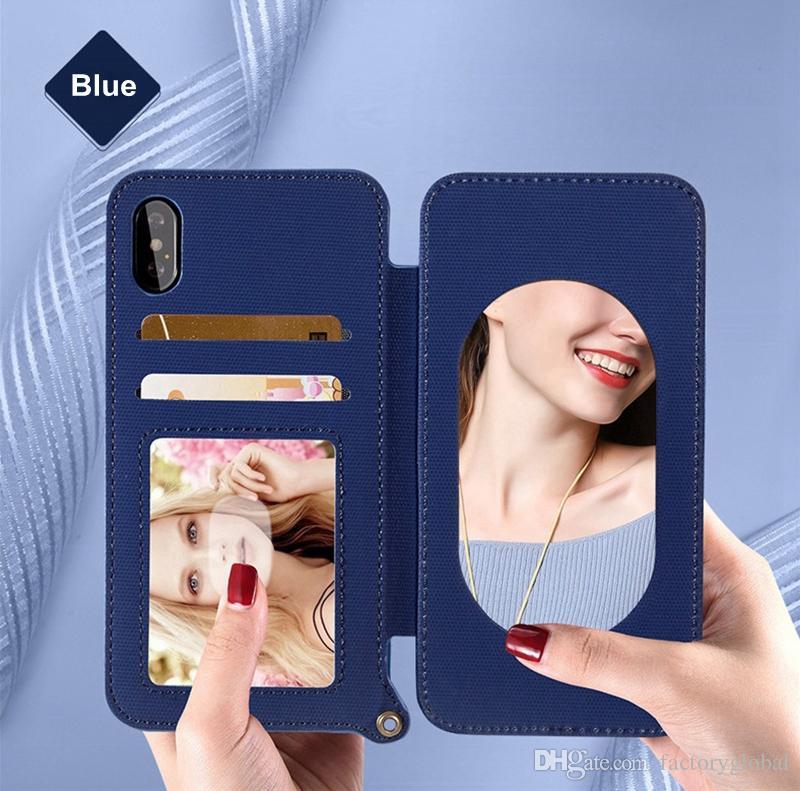 Custodia in pelle di lusso in pelle smerigliata Custodia a conchiglia con slot schede Lanyard Bracket Make-up Mirror iPhone X Samsung