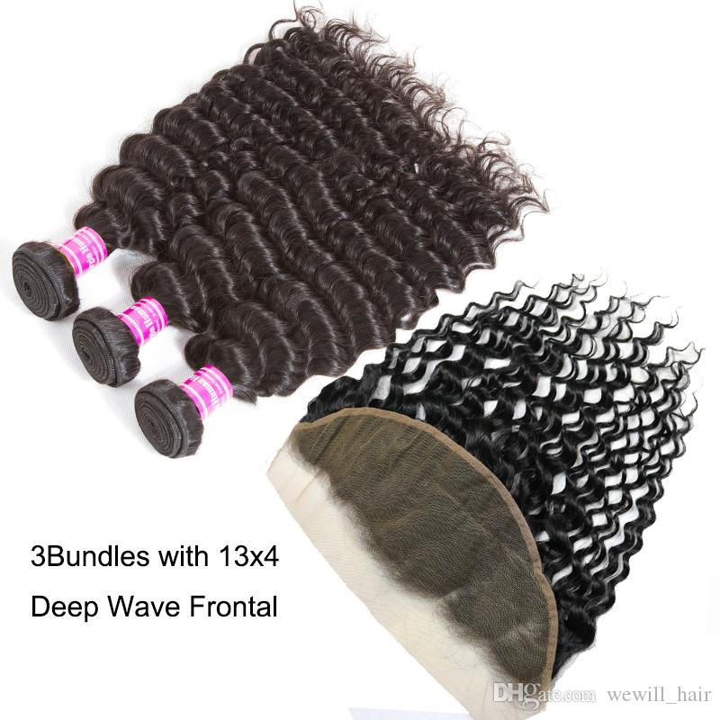 Brazilian Virgin Hair Bundles with Lace Frontal Straight Body Wave Hair Weaves Frontal Closure Deep Wave Kinky Curly Human Hair Extensions
