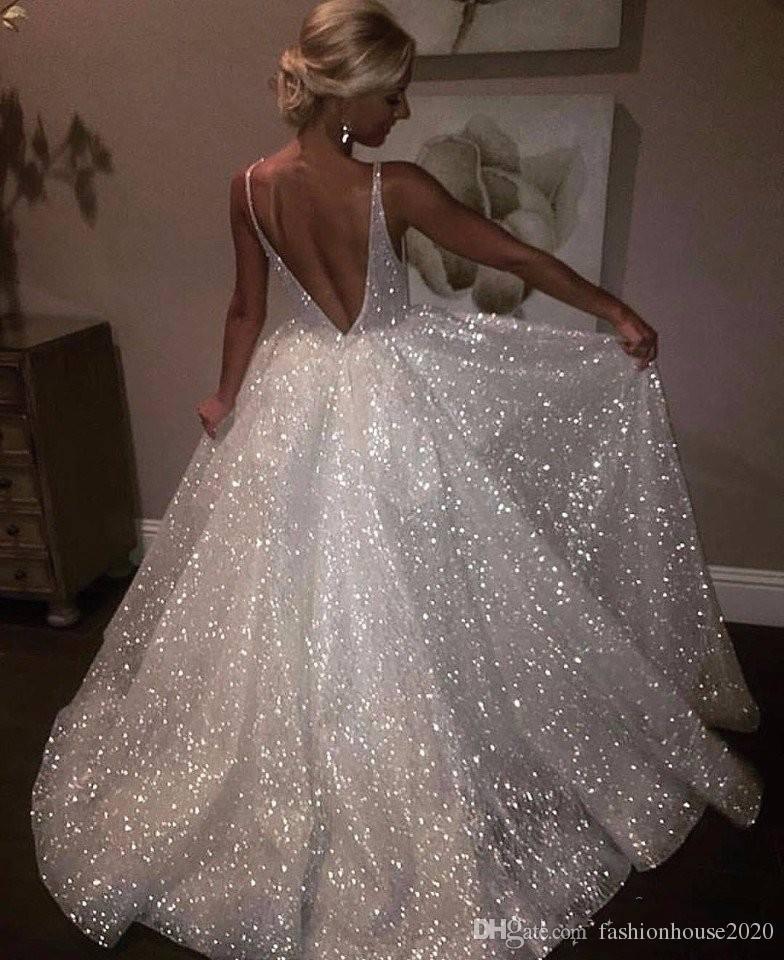 Grosshandel 2019 Sexy Bling Pailletten Ballkleid Brautkleider