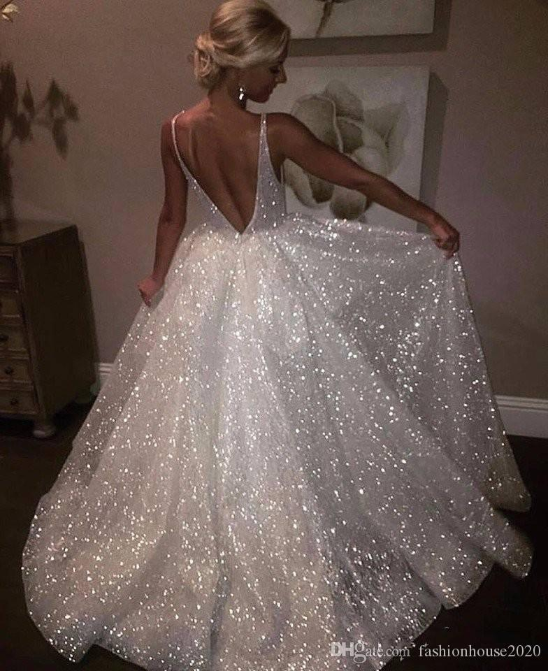 2019 Sexy Bling Sequined Ball Gown Wedding Dresses Sequins Plunging V Neck Wedding  Gowns Floor Length Backless Custom Plus Size Bridal Dress Unique Wedding ... d66cc0f5d89a