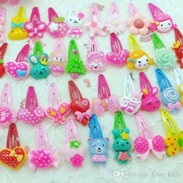 cartoon kids hair jewelry flower BB clip girls lovely hairpins kinds of flower pattern butterfly shaped hairpins